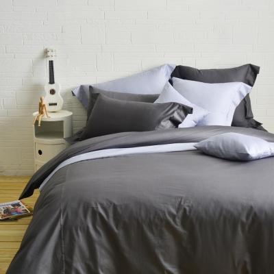 Cozy inn 簡單純色-鐵灰-200織精梳棉四件式被套床包組(加大)