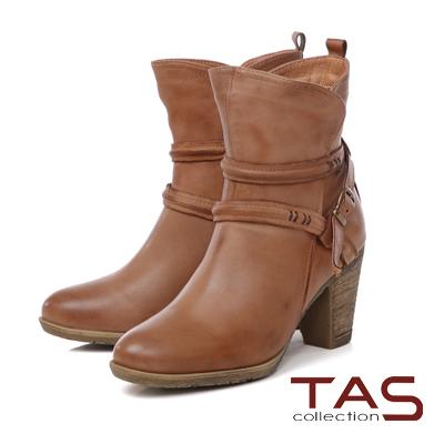 TAS 擦色交疊繞踝皮帶扣高跟短靴-煙燻卡其