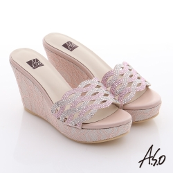 A.S.O 璀璨系列 華麗水鑽絨面涼拖鞋 粉紅