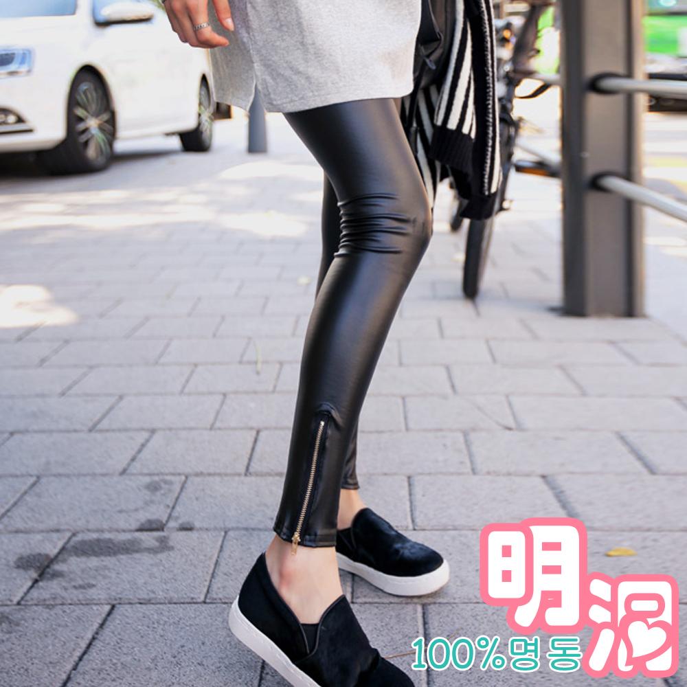 光澤皮革感金屬拉鍊內搭褲 (黑色)-100%明洞