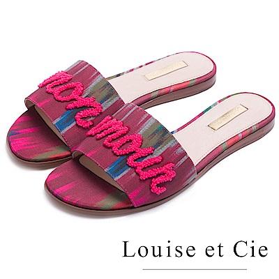 Louise et Cie 春漾優雅英文字拖鞋-粉色