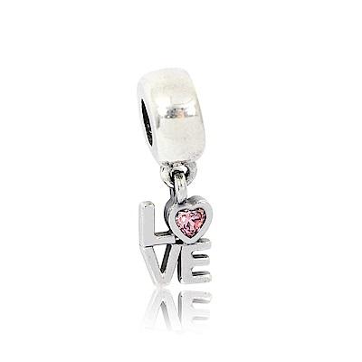 Pandora 潘朵拉 LOVE鑲鋯字母 垂墜純銀墜飾 串珠