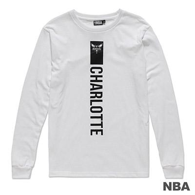 NBA-夏洛特黃蜂隊極簡印花圓領長袖薄T恤-白 (男)