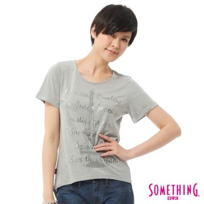 SOMETHING-立體印花T恤-女-麻灰