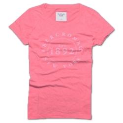 A&F Abercrombie & Fitch 1892印花圓領短袖T恤-西瓜紅