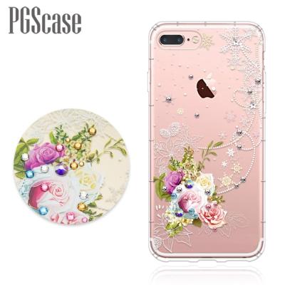 PGS iPhone8/7 Plus 5.5吋奧地利彩鑽防摔手機殼-緋雪薔薇
