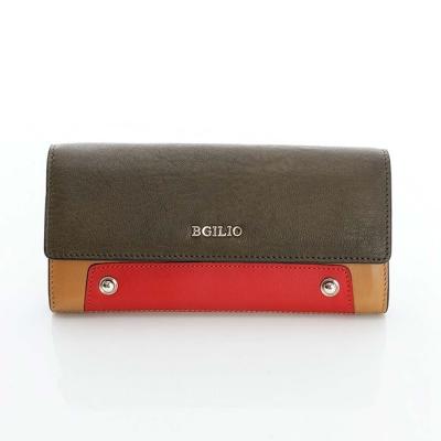 義大利BGilio-個性時尚配色釦式長夾-橄欖綠色2253-324-08