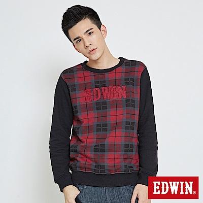 EDWIN 格紋剪接LOGO長袖厚T恤-男-紅色