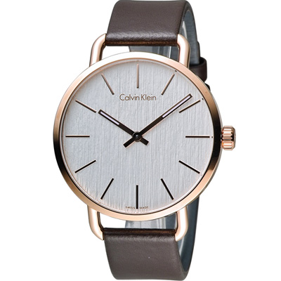 ck Calvin Klein K7B even 系列 頁岩自然風格時尚腕錶-白x玫瑰金