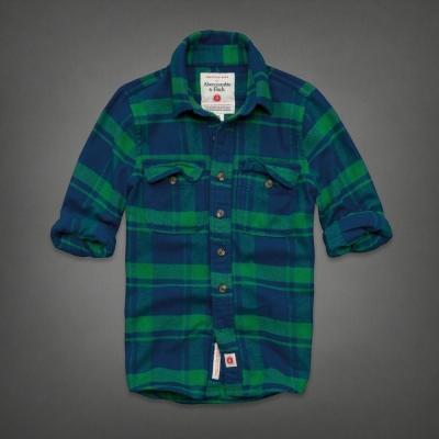 AF a&f Abercrombie & Fitch 長袖 襯衫 綠色 0144