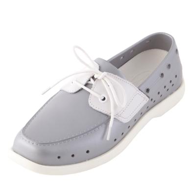 (男/女)Ponic&Co美國加州環保防水洞洞綁帶帆船鞋-銀色