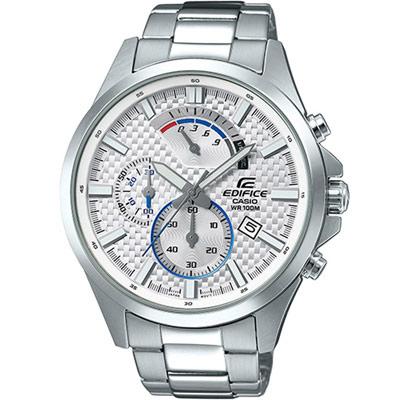 EDIFICE 碳纖維紋計時三眼錶(EFV-530D-7A)白/47.2mm