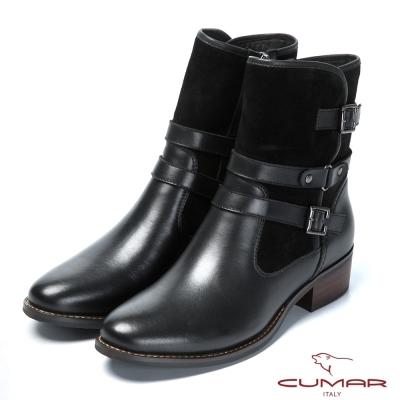 CUMAR帥氣軍靴 皮帶釦環裝飾真皮靴-黑色