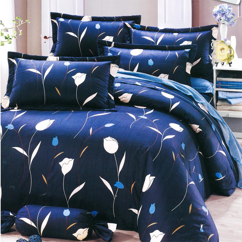 Carolan-花之情-藍 台灣製雙人五件式純棉床罩組