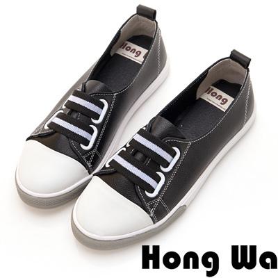 Hong Wa 休閒運動風牛皮綁帶便鞋 - 黑