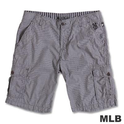 MLB-紐約洋基隊直紋休閒短褲-黑(男)