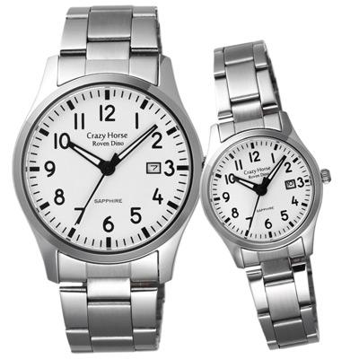 Roven Dino羅梵迪諾 瘋狂之馬日期時尚對錶-白/40X27mm
