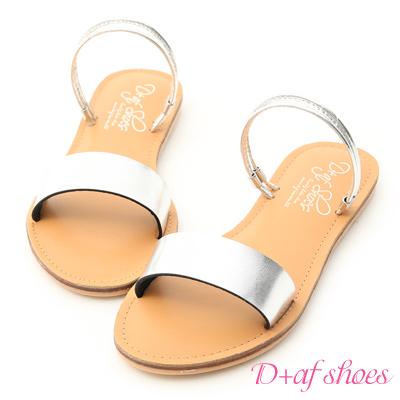 D+AF 夏日焦點.一字造型二穿涼拖鞋*銀