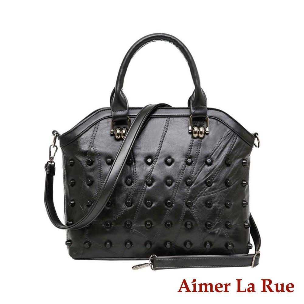 Aimer La Rue 時尚OL羊皮手提側背包(黑色)