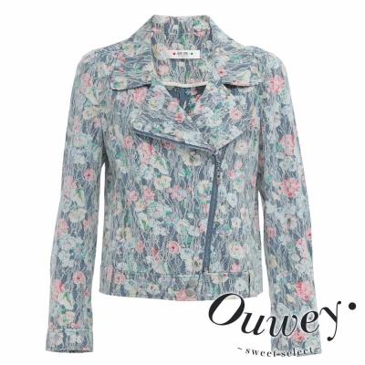 OUWEY歐薇-甜美搖滾蕾絲印花小外套