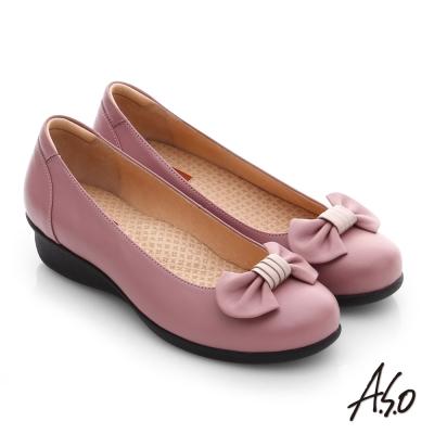 A.S.O 舒活寬楦 真皮蝴蝶結飾楔型鞋 粉紅色