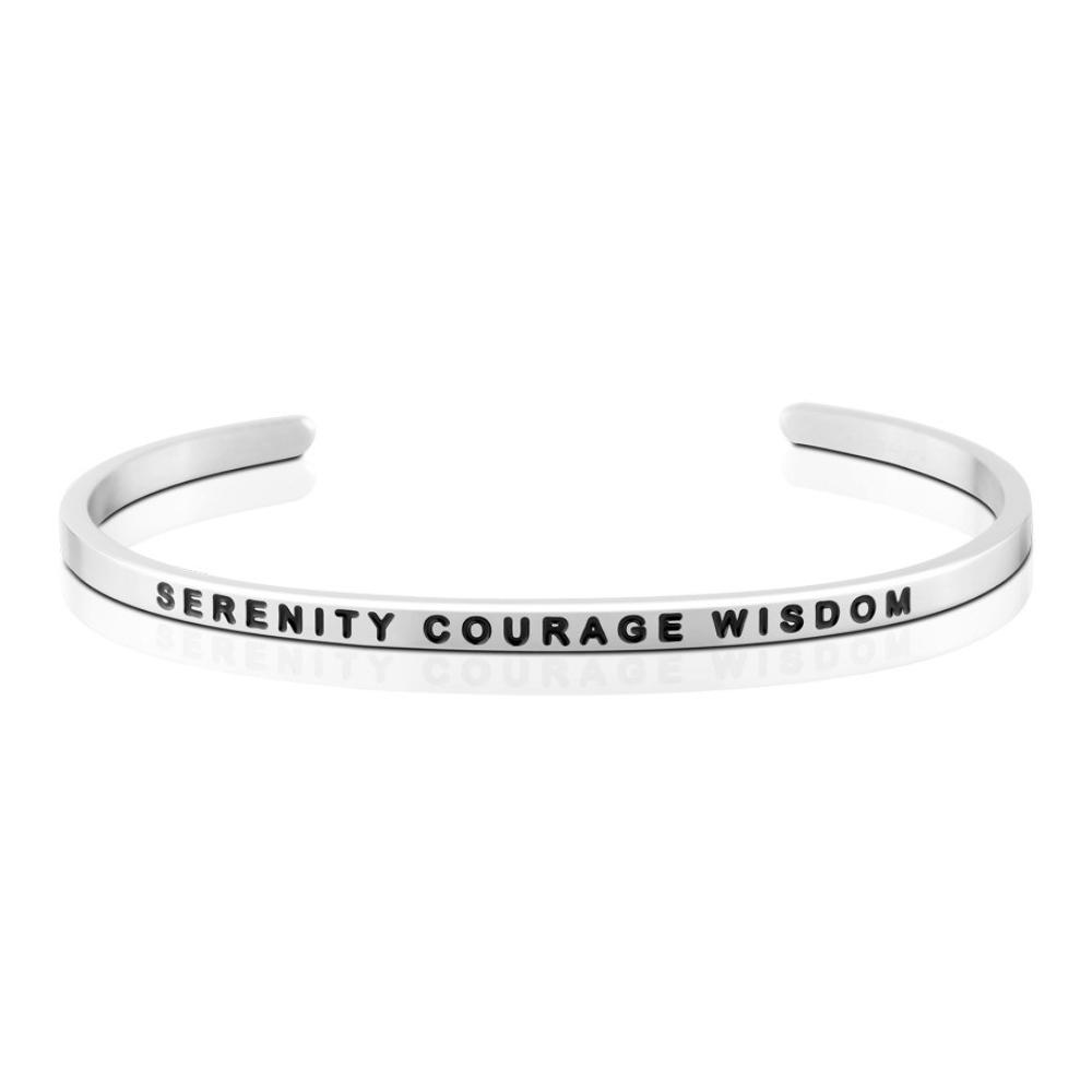 MANTRABAND 美國悄悄話手環 Serenity Courage Wisdom 銀色