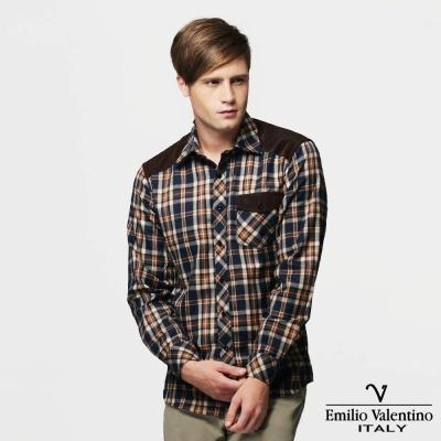 Emilio Valentino 范倫提諾絨布拼接格紋襯衫-藍