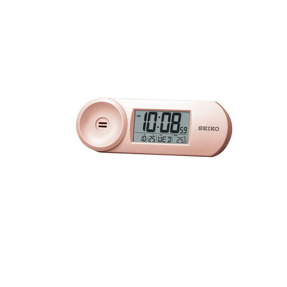 SEIKO 漸進式嗶嗶鬧鐘 溫度/日曆 電子鍾(QHL067P)-粉/44x13.5cm