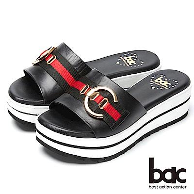 bac經典時尚-搶眼裝飾厚底台拖鞋-黑色