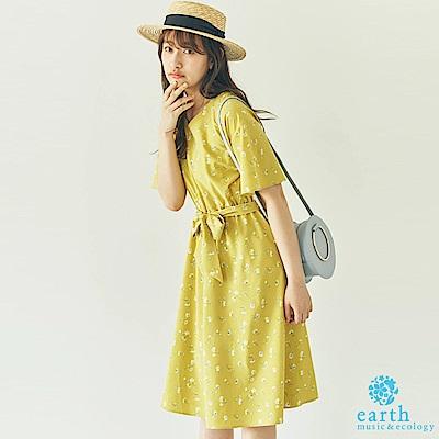 earth music 花卉打印腰綁結V領洋裝