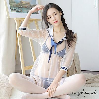 角色扮演 清純學生妹薄紗水手服情趣制服三件式套裝-天使波堤