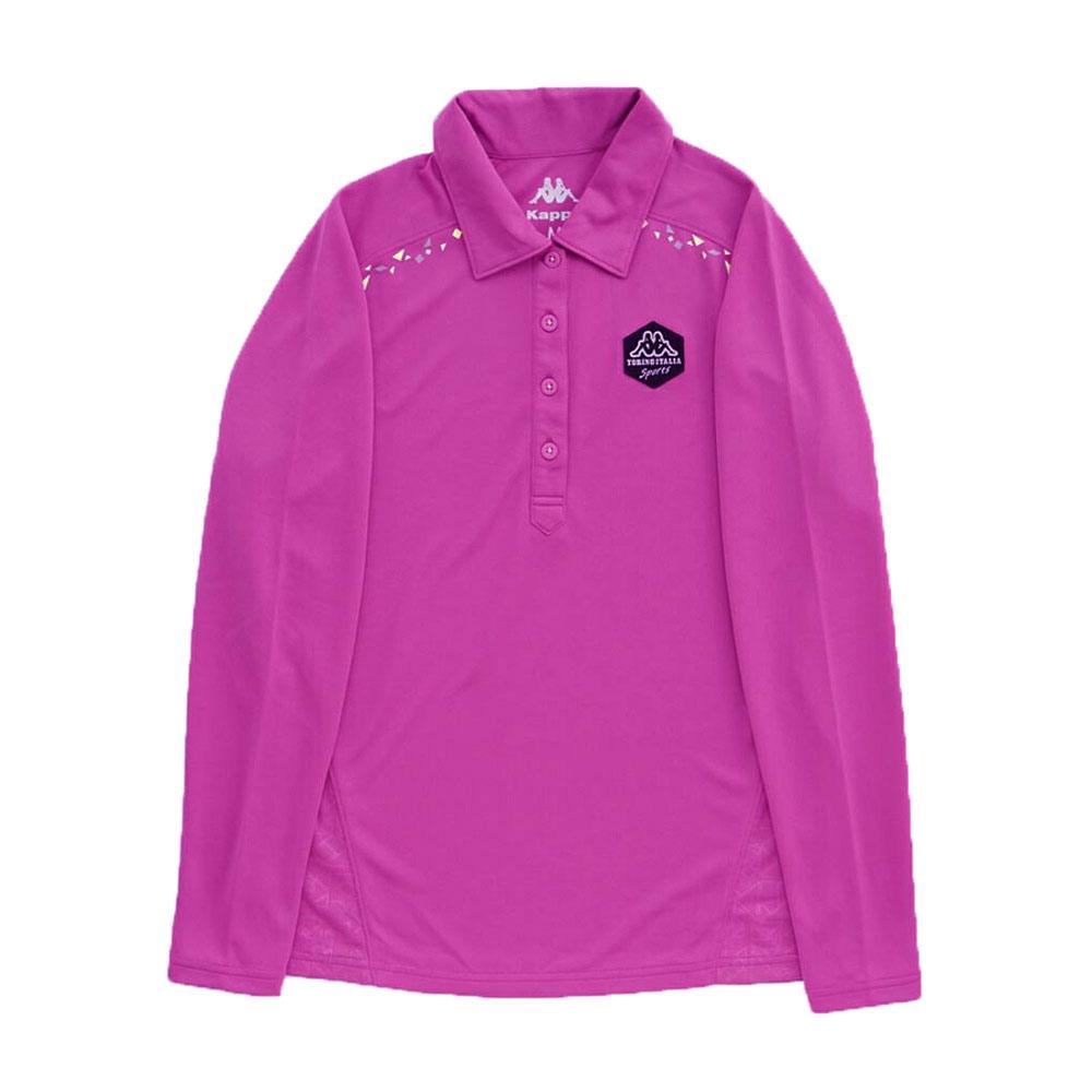 KAPPA義大利女吸濕排汗速乾彩色POLO長袖衫 亮莓紫