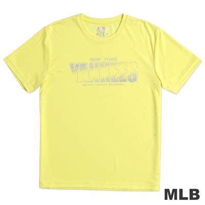 MLB-紐約洋基隊合身快排圓領上衣-黃(男)