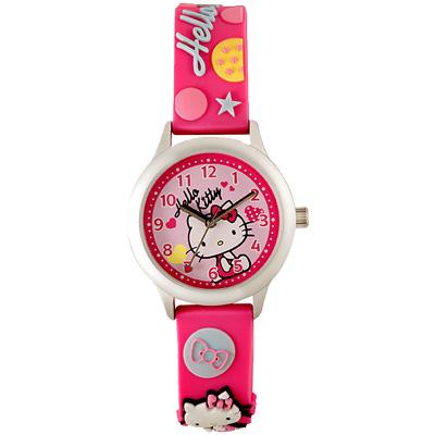 Hello Kitty 玩樂星球造型腕錶-粉紅/30mm