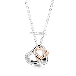 Tiffany&Co. 925純銀+18K玫瑰金雙心墜飾項鍊