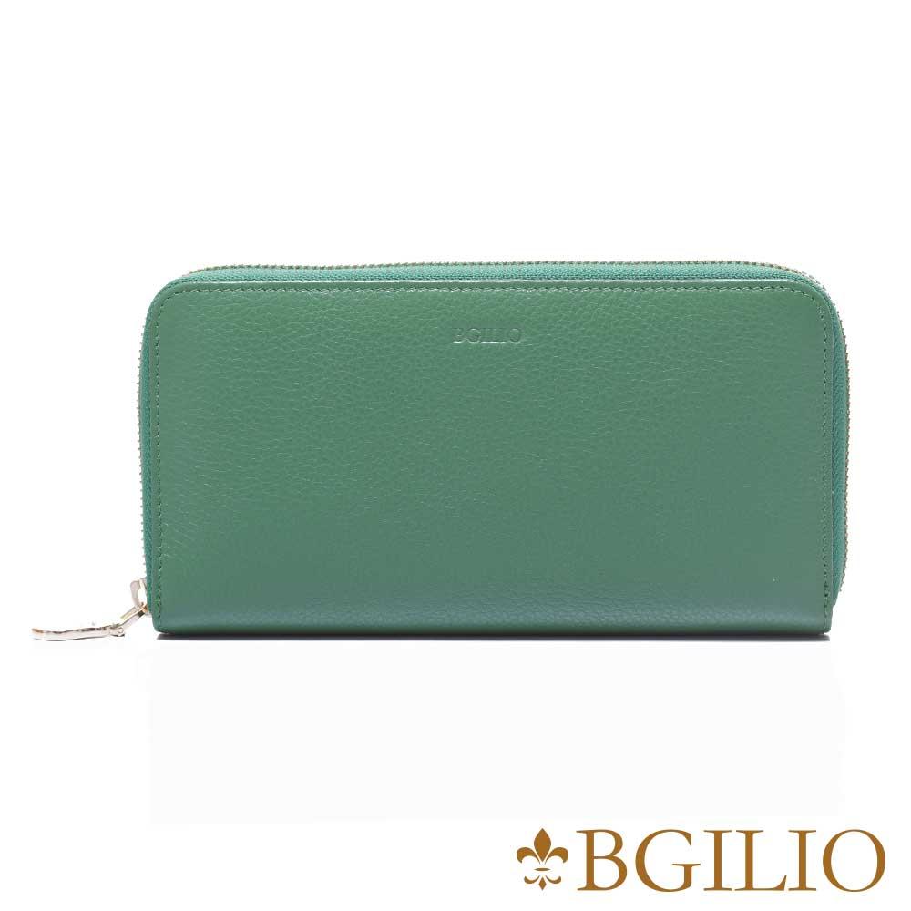 義大利BGilio 復古原味牛皮系列拉鍊長夾 -綠色1969.323-08