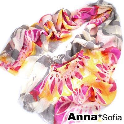 AnnaSofia 向陽花葵 薄款純羊毛圍巾(桃黃系)