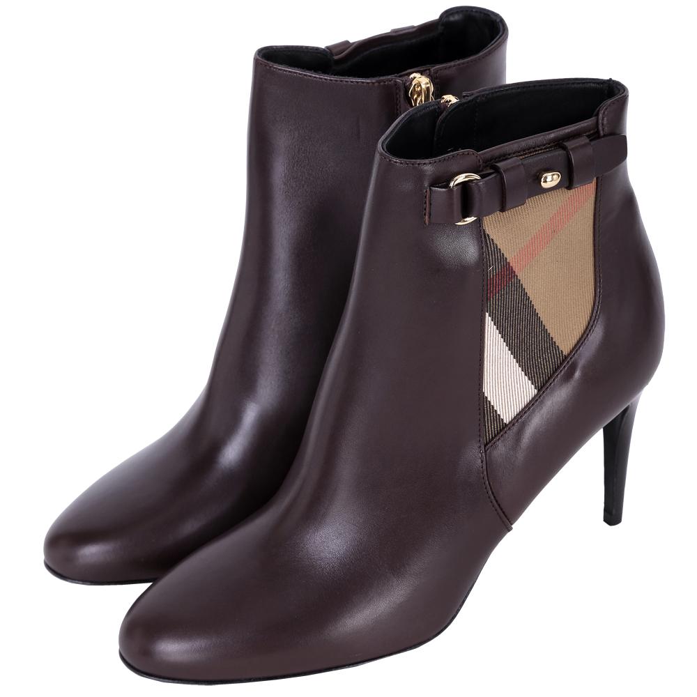 BURBERRY HOUSE 格紋拼接踝靴(酒紅色)