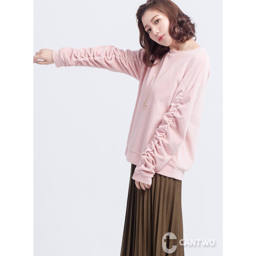 CANTWO絲絨抽皺長袖上衣(共三色)