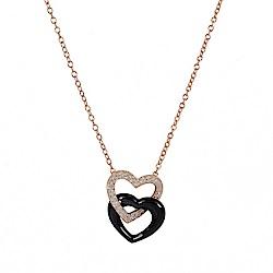 BERING丹麥精品 雙色雙心造型水晶/陶瓷項鍊 玫瑰金