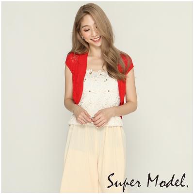 時尚復古鏤空短外套-紅色(F可選)     名模衣櫃