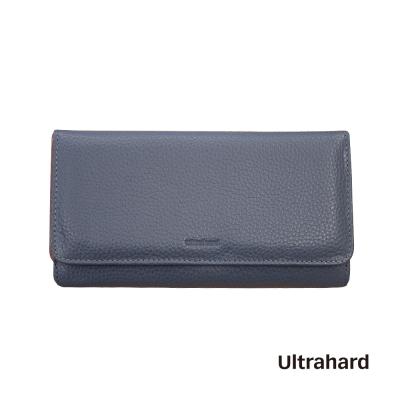 Ultrahard 手工真皮壓扣長夾(灰藍)
