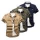 美國熊 軍裝風格  質地柔軟 合身版肩章款式短袖襯衫