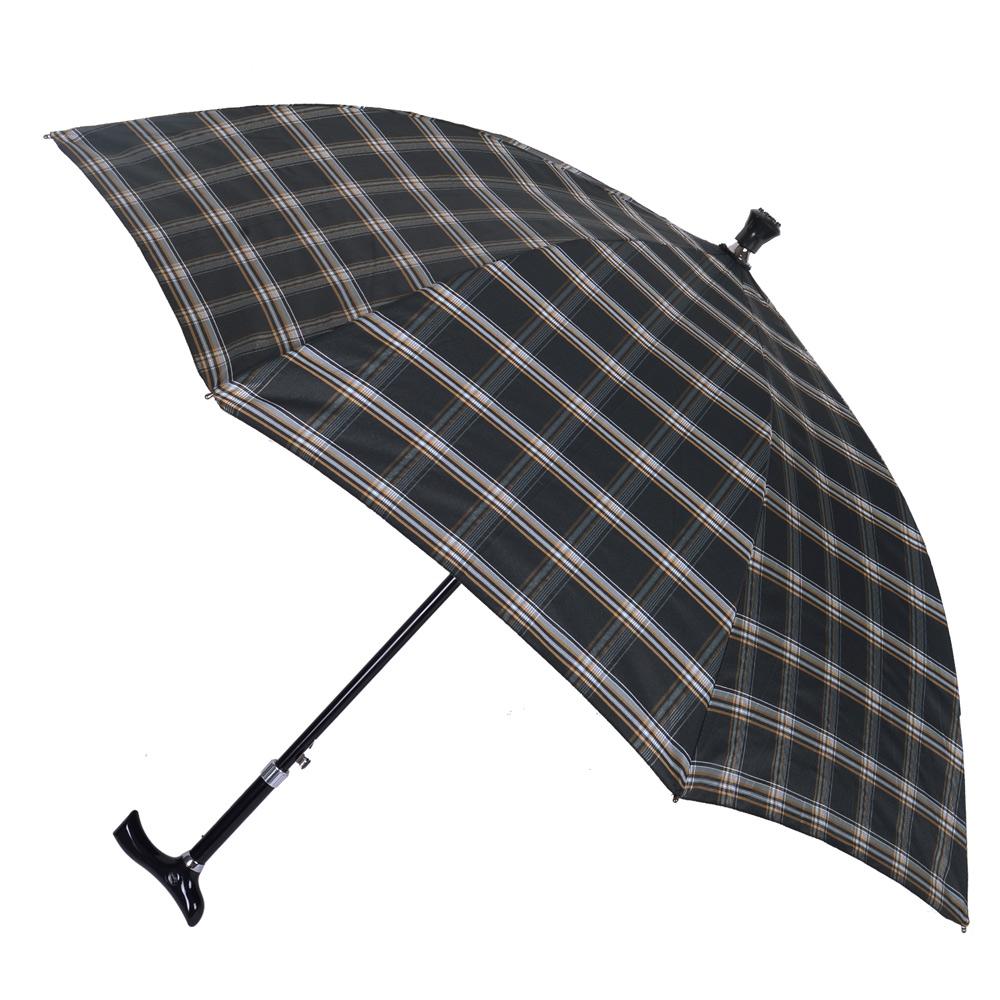 2mm 經典格紋5段式拐杖自動直傘/健行傘 (黑灰)