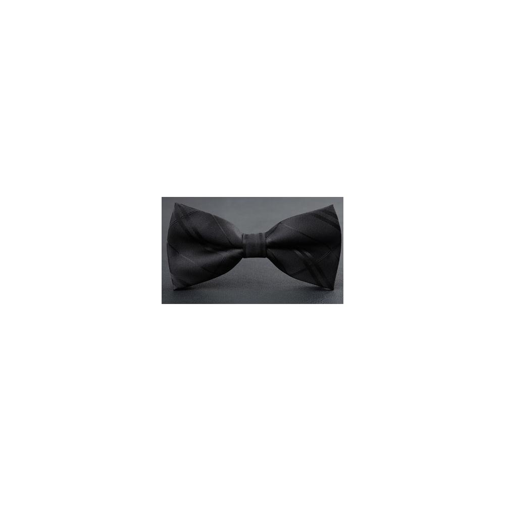 【拉福】亂入黑底紋精工皮質領結新郎結婚領結糾糾 (黑色)