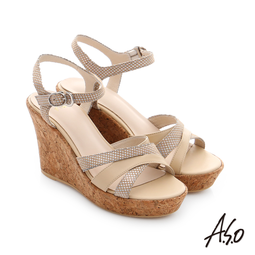 A.S.O 嬉皮假期 牛皮拼接閃色羊皮楔型涼鞋 米色