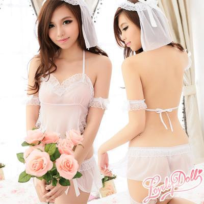 蘿莉朵-六月新娘-白紗蕾絲性感睡衣-白