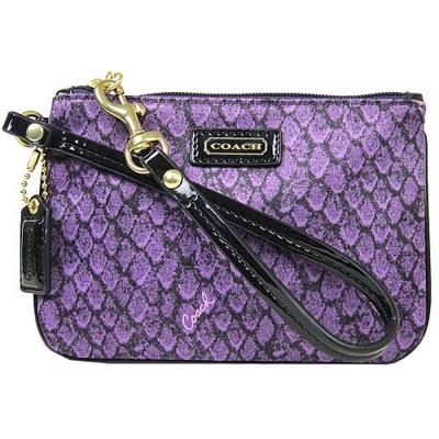 COACH-蛇紋緞布手拿包-紫