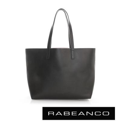RABEANCO 迷時尚系列牛皮撞色素面肩背包(中) - 黑