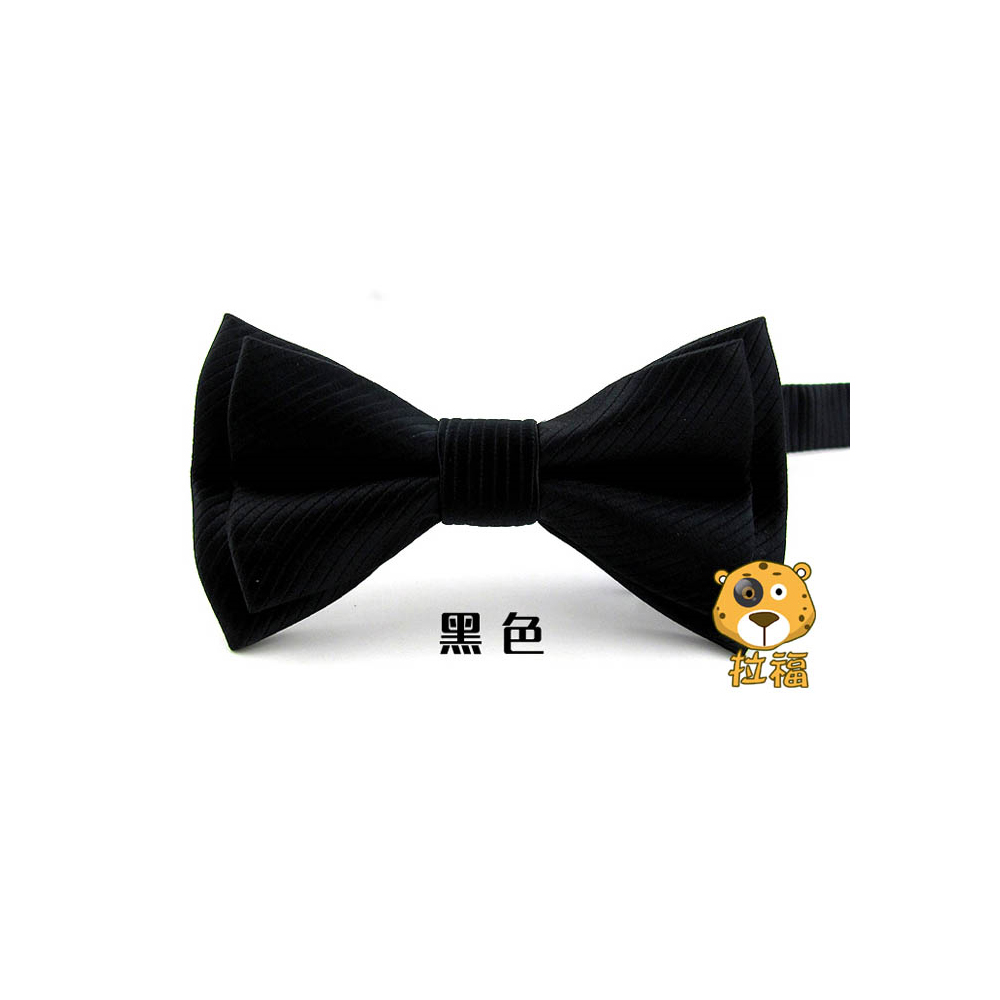 拉福 西裝布料斜紋領結新郎結婚領結糾糾 (黑色)
